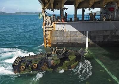 Amphibious Vehicle enters dock-ship USS Tortuga: Photo credit USN