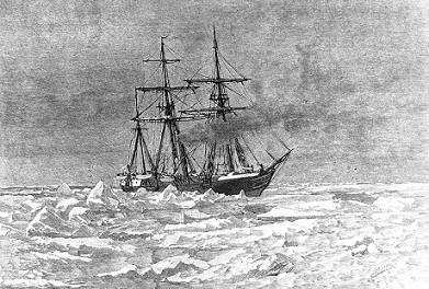"""""""Entering the Ice"""" Engraving by George T. Andrew after a design by M.J. Burns, copied from """"The Voyage of the Jeannette ..."""", Volume I, page 117, edited by Emma DeLong, published in 1884. It depicts USS Jeannette entering the Arctic Ice, near Herald Island (about 72N, 175W), on 6 September 1879. (U.S. Naval Historical Center Photograph.)"""