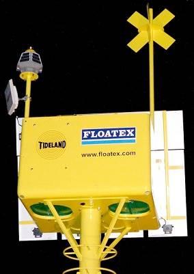 A Floatex Elastic Beacon with Tideland's SolaNOVA-65 self-powered LED lantern installed (Photo: Tideland Signal)