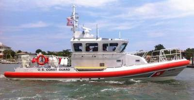 Coast Guard Station Wrightsville Beach's crew operate their recently recieved 45-foot Response Boat - Medium in the waters near Mansboro Inlet, N.C., June 17, 2013. The RB-M will replace the aging fleet of 41-foot Utility Boats and assorted non-standard boats being used by the Coast Guard throughout the country. (U.S. Coast Guard photo by Petty Officer 1st class Nicholas Hatzistefanou)