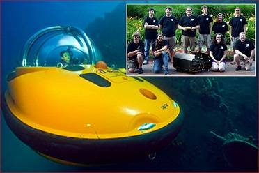 Main photo - One of U-Boat Worx personal submarines, Inset photo – NCSU Robotics club with their Seawolf AUV and club president Matt Wiggins center holding JW Fishers pinger (Photo Credit: David Pearlman)