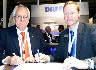 Nick Jeffrey, General Manager of Solent Towage (left) and Arjen van Elk, Sales Manager North, West and South Europe, Damen Shipyards
