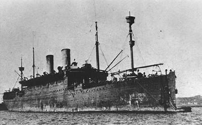 USS Covington. Fine screen halftone reproduction of a photograph taken in 1918. This ship was torpedoed and sunk in July of that year. (Courtesy of William H. Davis, 1977. U.S. Naval Historical Center Photograph.)