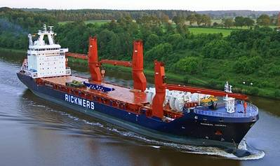 The 19,100-dwt Rickmers Chennai has been named in a ceremony in Hamburg by Dr. Christine Winter, acting as sponsor of the vessel. (Photo: Rickmers-Linie)