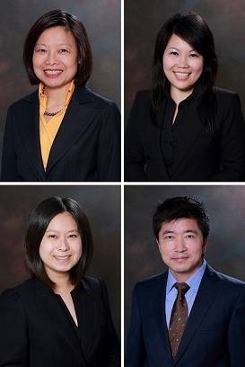 Clockwise from top left: Lay-Hui Lim, Jasmine Miow, Shibo Zhang and Arina Tek