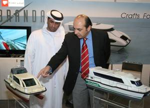 Models of water taxis and water buses on display at the Middle East Workboats exhibition and conference taking place in Abu Dhabi.