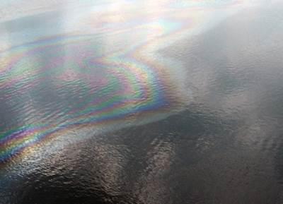 The oil sheen: Photo courtesy of NOAA