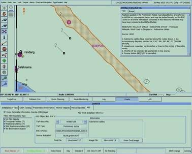 Admiralty AIO display on an ENC on the Totem ECDIS display