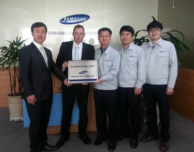 Caption: From left Mr Jong Ha Song General Manager, Wärtsilä Korea sales, Mr Matias Karls, General Manager, Wärtsilä sales, Mr J.H Lee, General Manager, Mr W.Y Park Senior Manager and  Mr H.S Min, Manager Samsung Purchasing