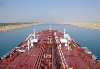A Teekay tankship in Suez transit: Photo courtesy of Teekay Tankers