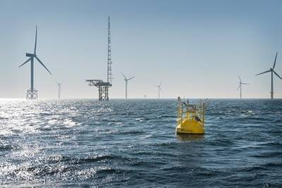 The Fraunhofer IWES' LiDAR wind-measuring buoy was installed near the FINO1 meteorological mast. The buoy measures wind speeds at heights of 40-200 m.
