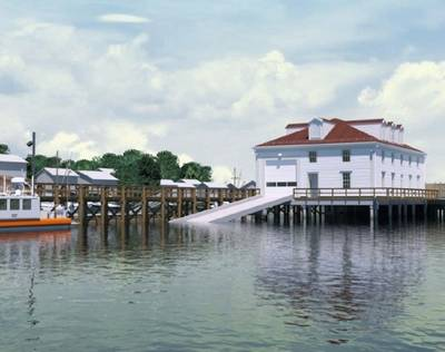 A rendering of the boathouse design for Station Menemsha. Image courtesy M.A. Mortenson Company
