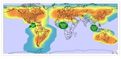 Satcom Voice Coverage: Map courtesy of Globalstar