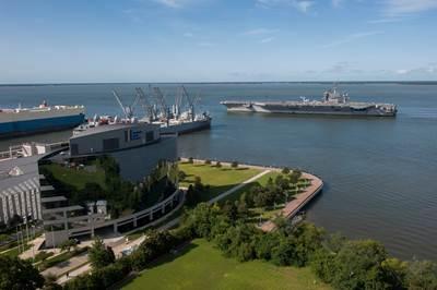 USS Theodore Roosevelt leaving the dockyard: Photo credit HII