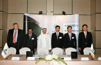 Signing Ceremony (Dr. Abdul Aziz Al-Ohaly, UASC Board Director (third from left) and Mr. Kim Oi-hyun, President and COO of Hyundai Heavy Industries (third from right))