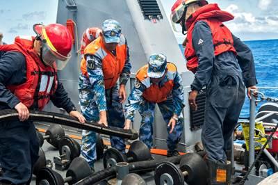 US & China Sailors Exercise: Photo credit USN