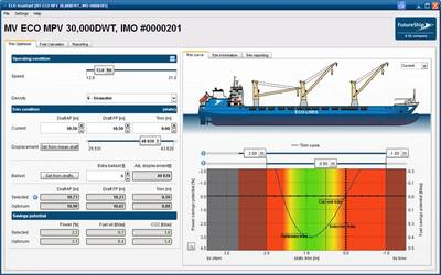 TrimOptimizer: The easy-to-use interface has become a trademark of ECO-Assistant. Speed, displacement (or current drafts) and optional extra ballast are all that is needed to get the optimal trim.