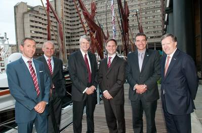 (L to R) – Simon Gould, Managing Director BMT Hi-Q Sigma; Jeroen de Haas, Managing Director of BMT Surveys (Rotterdam); Peter French Chief Executive, BMT Group; Dr Matthew Roberts, Operations Manager, BMT WBM (UK); David Bright, Sector Director (Defence) BMT Group; Ian Davies, non-executive Director BMT Group.