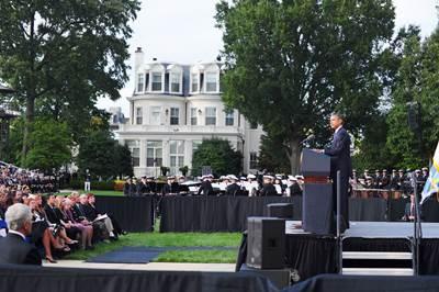 President Obama at the memorial service: Photo credit USN