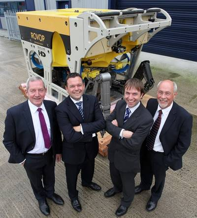 From left to right: Ceona's chief executive officer Steve Preston and chief operating officer Stuart Cameron, with ROVOP's managing director Steven Gray and chairman Mark Vorenkamp