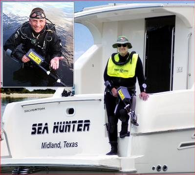 Bart McCollum with his JW Fishers Pulse 8X detector on the Sea Hunter, Inset photo – Bill Nichols with his Pulse 8X and recovered wedding ring.