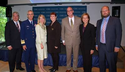 From left to right: Antti Vehviläinen, Director General, Finnish Transport Agency; USGC Vice Admiral Peter Neffenger; Heather A. Conley, Director and Senior Fellow , CSIS Europe Program; Merja Kyllönen, Minister of Transport, Finland; William P. Doyle, Federal Maritime Commissioner; Ambassador Ritva Koukku-Ronde, Embass of Finland; and Mikhail A. Kalugin, Head of the Economic Section, Embassy of the Russian Federation.