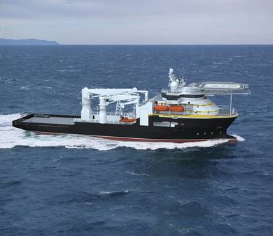 Artist rendering of the subsea support vessel BAE Systems will build for Oceaneering International.