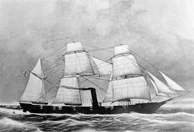 USS Washusett lithograph, courtesy of Charles H. Bogart. (U.S. Naval Historical Center Photograph.)
