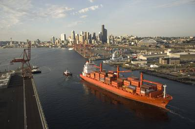 Hamburg Süd's Cap Preston--shown here at the port of Seattle --is the newest addition to the company's Pacific Coast/Australia New Zealand service fleet. Built in 2007, the ship has a nominal capacity of 1,819 TEU and a reefer capacity of 462 plugs. The high reefer capacity of the ship is particularly important given the demand for reefer service between Australia/New Zealand and the Pacific Coast.