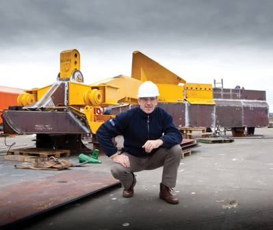 Ecosse Subsea Systems managing director, Mike Wilson, with the SCAR subsea plough