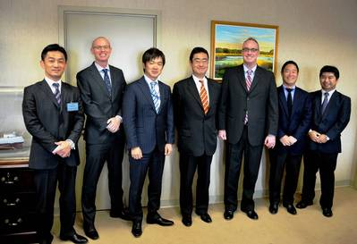 From left: Kazuhiro Yokoi (Chubu Electric Power Company), David Tubman (FMC), Yoshiro Taguchi (Japanese Embassy), Hidehiro Muramatsu (Japan Oil, Gas, and Metals National Corp.), William Doyle (FMC Commissioner), Takashi Horie (Mitsubishi), and Nobukazu Nagai (Japan International Transport Institute, USA).