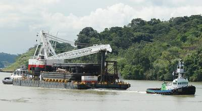 Ocean crane barge Thomas W is towed during its 52-day journey from California to New York