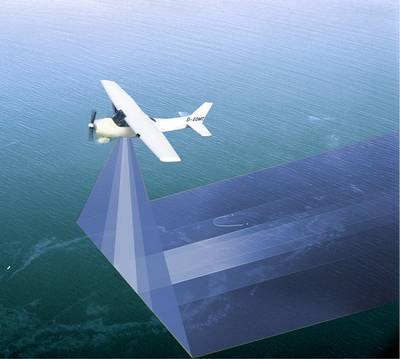 "MSRC adds Ocean Imaging's remote sensing technology to its superior ""systems-based"" approach to oil spill response.  Shown here: Wide range aerial surveillance for day and night spill operations using infrared and multi-spectral sensing equipment (1Q2014)"