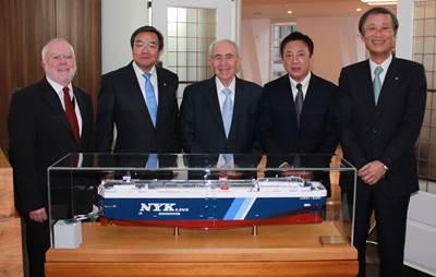 Left to right: Peter Hinchliffe, ICS Secretary General; Koji Sekimizu, IMO Secretary-General, Spryos M Polemis, ICS immediate past chairman, Masamichi Morooka, ICS Chairman and Yasumi Kudo, President of NYK.