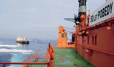 MV Nordic Barents and icebreaker 50 Years of Victory (Photo courtesy Lloyd's Register)