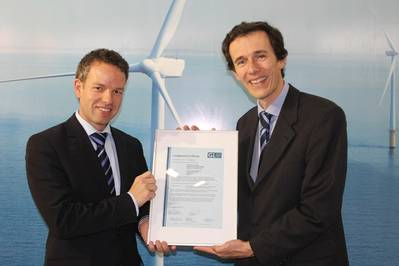 Picture from left to right: Holger Trecksel, Head of Business Development and Sales, GL RC hands the certificate over to Yves Vanlinthout from CG.
