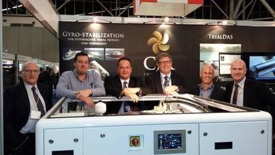 From left to right: Giorgio Dona (SAIM Group), Jan Bruggeman Ship Motion Group), Mark Russell (CJR Propulsion Limited), Stephen Vincent (VEEM Limited), Paul Steinmann (VEEM Limited), Marco Dona (SAIM Group))