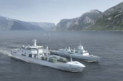 BMT uses AVEVA Marine to design the Norwegian Defense Logistics Organization's logistics and support vessel. Copyright BMT Defence Services.