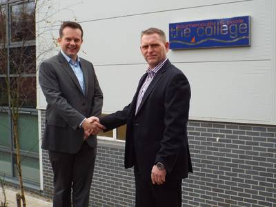 L-R: Matthew Butcher, Sales and Customer Account Manager, Bournemouth & Poole College and Mark Knowles, Training Director, Solace Global, outside of the training facilities at North Road.
