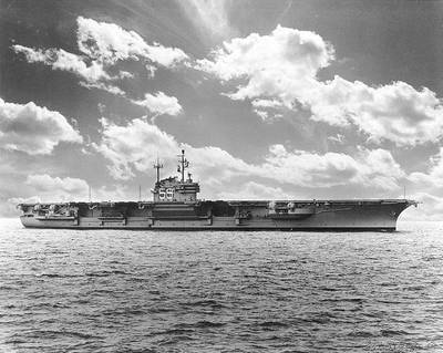 USS Forrestal (CVA-59) photographed by W.F. Radcliff, 1955. (U.S. Naval Historical Center Photograph)