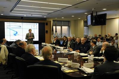 More than 75 senior agency officials from the Department of Homeland Security, NSS and National Response Team agencies participated. U.S. Coast Guard photo by Petty Officer 1st Class Timothy Tamargo