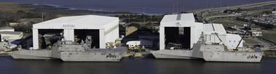 LCS hulss 4 and 6, dockside at Austal.