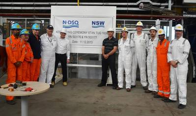 Representatives from NDSQ and NSW at the keel-laying ceremony