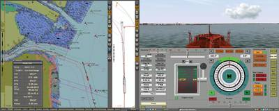 Vessel approaching the con Hook range in New York harbor. The image shows a dual display for ECDIS running the official US5NY1CM cell groomed for the tanker in transit. (Transas simulation, real ECDIS)