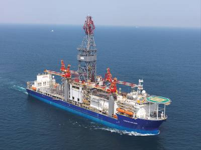 Ultra Deepwater Drillship designed for drilling operation down to 40,000 ft. (12,120 m) & in water depths to 10,000 ft. (3,048 m)