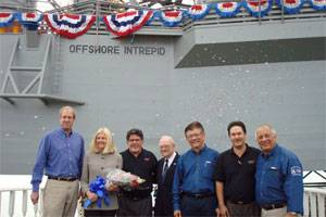 Lady Sponsor Mrs Drucie Cole (second from left), spouse of Mr Jon Cole (first from left), Scorpion President & CEO, is accompanied by (from left) Mr Gabriel Padilla, Scorpion VP Engineering, Reverend Aten, Mr G.S. Tan, Keppel AmFELS President & CEO, Mr Sidney Ware, Scorpion Project Manager and Mr Oscar Lopez, Keppel AmFELS Project Manager