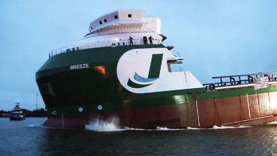 BAE Systems launches the M/V Breeze from its Heckscher Drive shipyard on Wednesday, January 29.