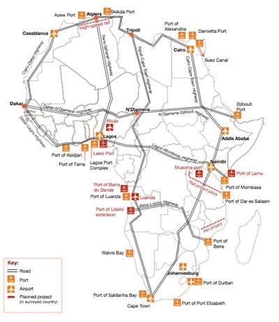 Major port projects & logistics: Map credit PwC