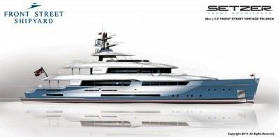 Setzer Design Motoryacht: Rendering courtesy of Front Street Shipyard