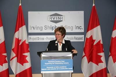 The Hon. Diane Finley: Photo credit Irving Shipbuilding